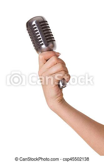 mikrofon, biały, odizolowany, samicza ręka - csp45502138