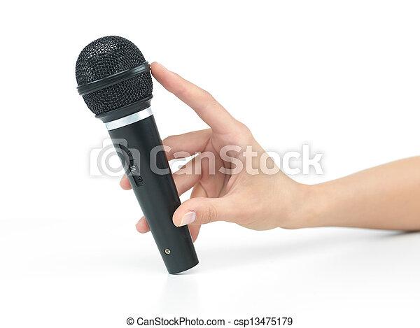 mikrofon, ręka - csp13475179