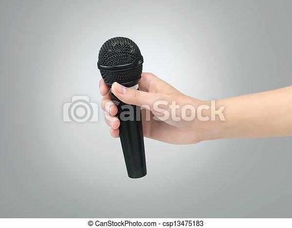 mikrofon, ręka - csp13475183