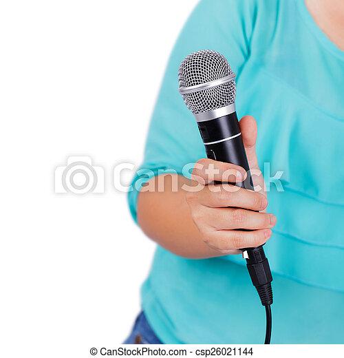 mikrofon, samica, dzierżawa ręka - csp26021144