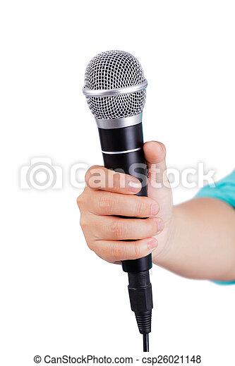 mikrofon, samica, dzierżawa ręka - csp26021148