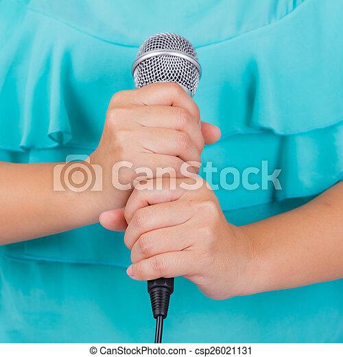 mikrofon, samica, dzierżawa ręka - csp26021131