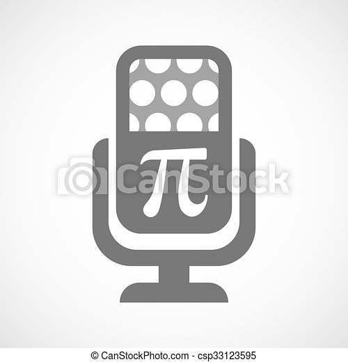 Mikrofon, symbol, odizolowany, liczba, pi, ikona. Mikrofon ...