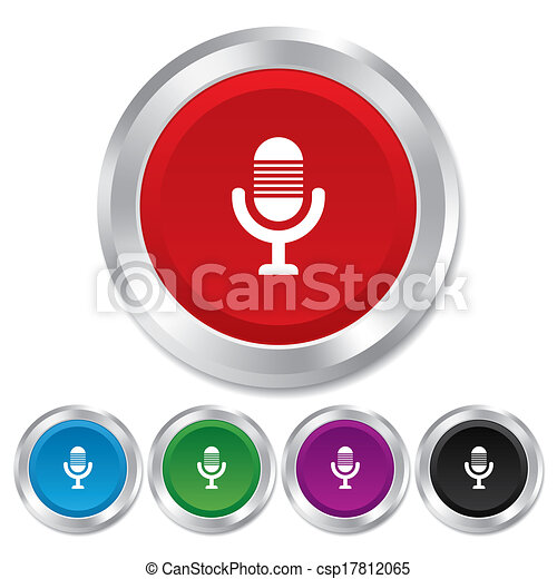 Mikrofon, symbol., znak, żywy, mówiący, muzyka, icon. Mikrofon ...