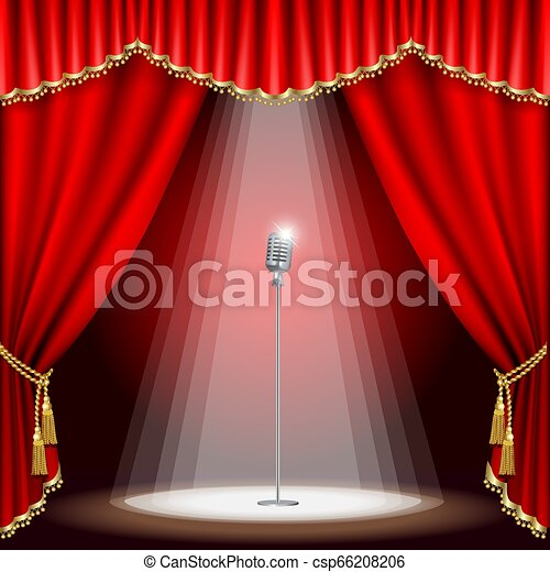 mikrofon, teatr, rusztowanie - csp66208206