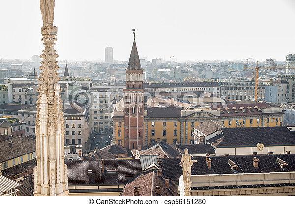 Milan, Italy panorama. View from Roof of Milan Cathedral Duomo. - csp56151280