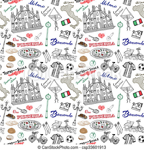 Milan italy seamless pattern with hand drawn sketch elements