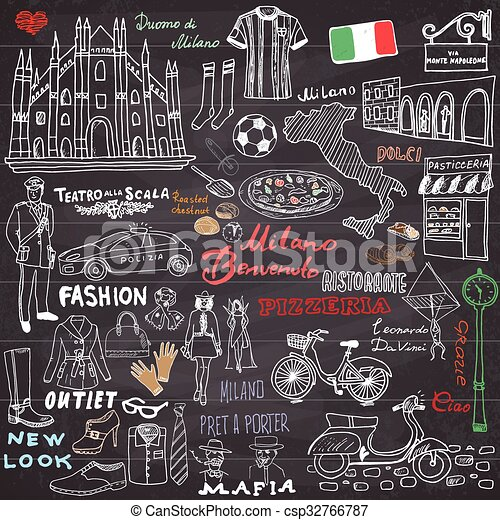 Milan Italy sketch elements - csp32766787