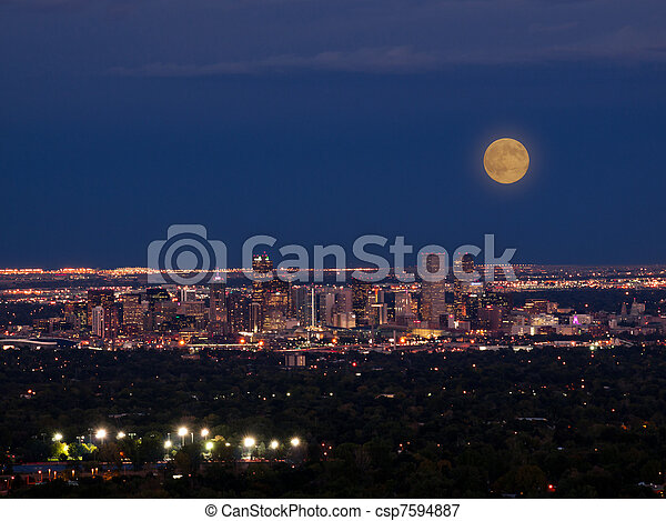 Mile High City of Denver by night - csp7594887