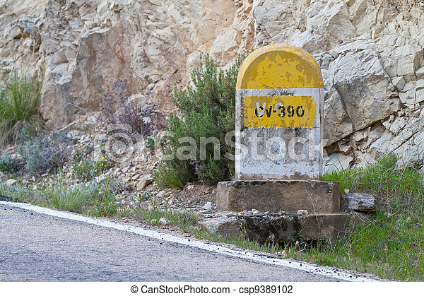 Milestone in the mountains - csp9389102