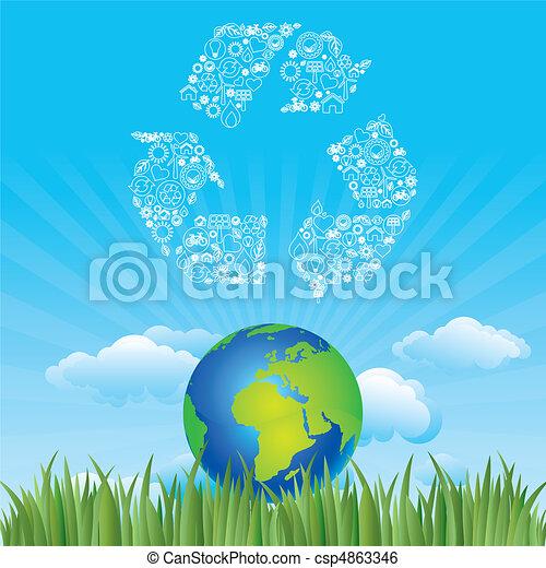 milieu, aarde, pictogram - csp4863346
