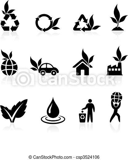 milieu, groener, verzameling, pictogram - csp3524106