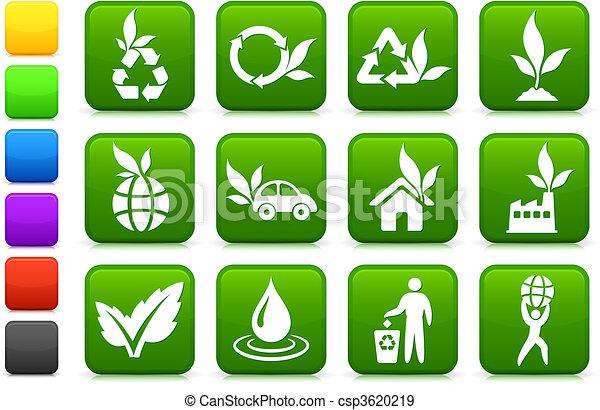 milieu, groener, verzameling, pictogram - csp3620219