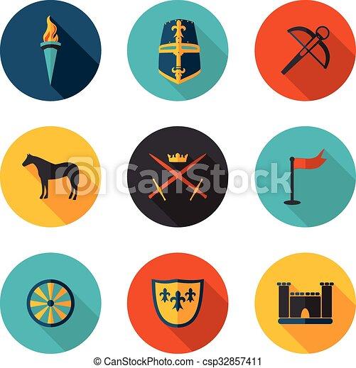 milieu, plat, âges, icônes - csp32857411