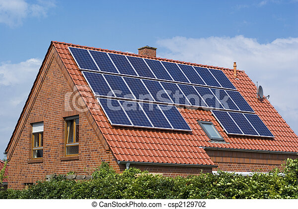 milieu, vriendelijk, zonne, panels. - csp2129702