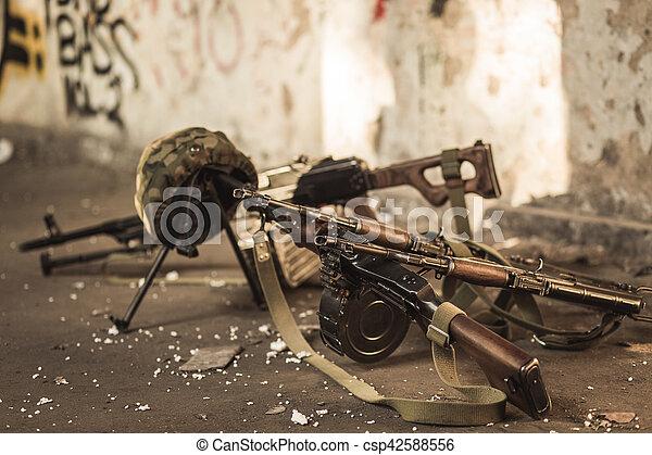 militär, automatisk, vapen - csp42588556
