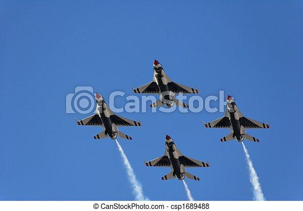 militäriskt plan, flykt, kämpe, demonstration - csp1689488