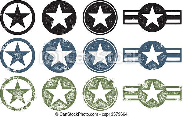militaer, grunge, sternen - csp13573664