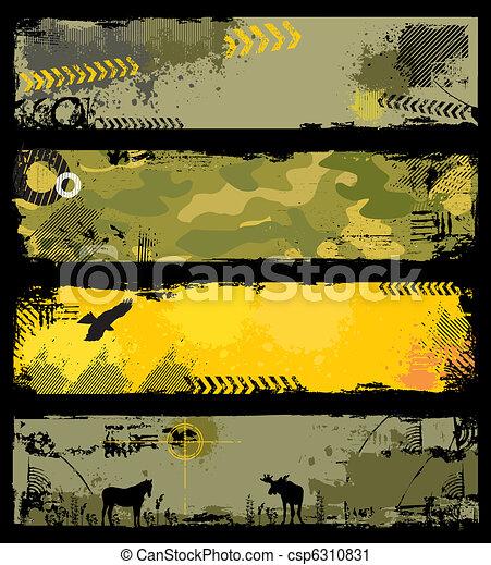 militaire, bannières, 2, grunge - csp6310831