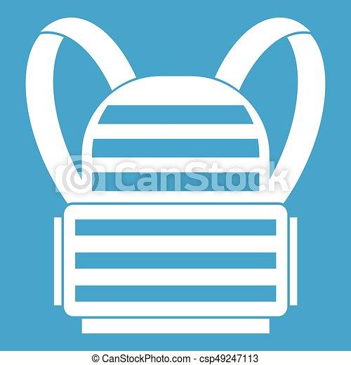 militaire, sac à dos, blanc, icône - csp49247113