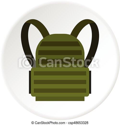 militaire, sac à dos, cercle, icône - csp48653328