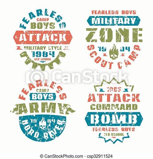 militaire, scout, insignes - csp32911524