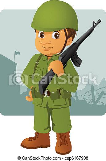 militaire, sien, homme, fusil - csp6167908