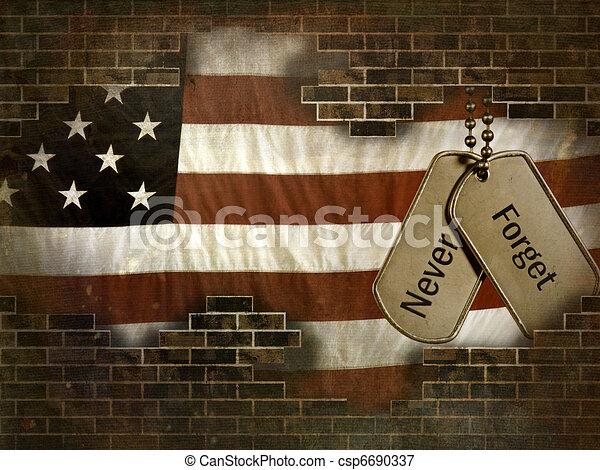 militar, cão, etiquetas - csp6690337