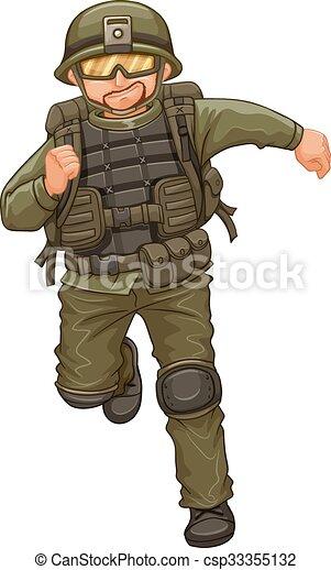 Un hombre con traje militar en marcha - csp33355132
