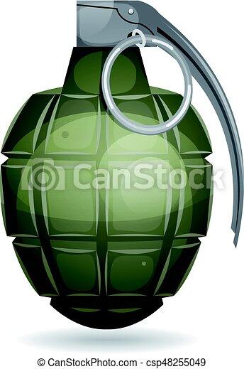 Militar Granada Alfinete Bomba Metal Isolado Ilustracao
