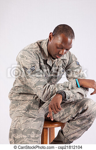 militar, hombre, uniforme negro - csp21812104