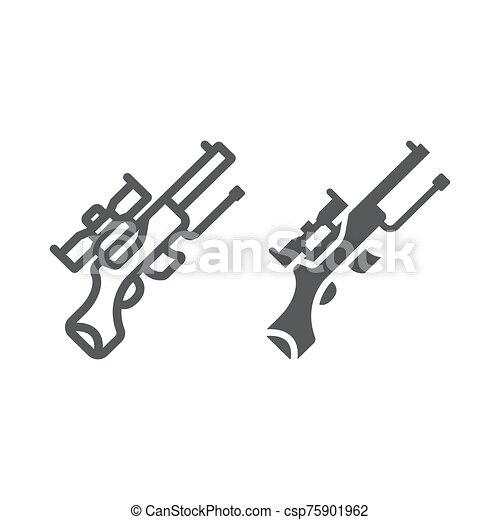 militar, lineal, vector, línea, gráficos, arma de fuego, glyph, fondo., icono, automático, patrón, blanco, señal, francotirador, máquina, arma - csp75901962