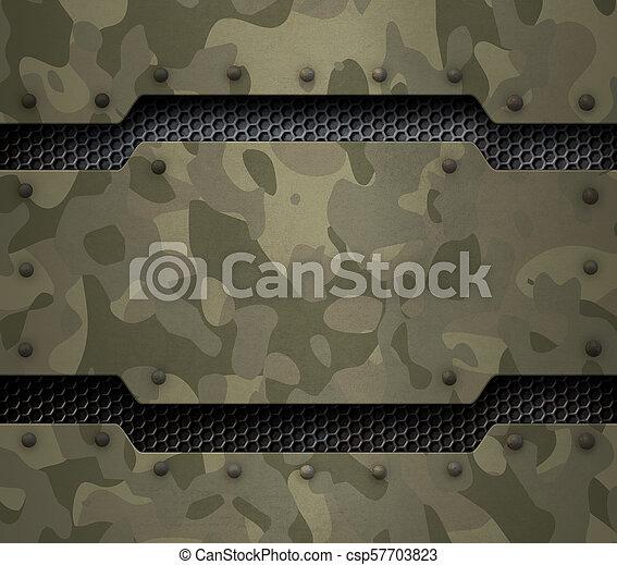 Antecedentes de metal militar 3D ilustración - csp57703823