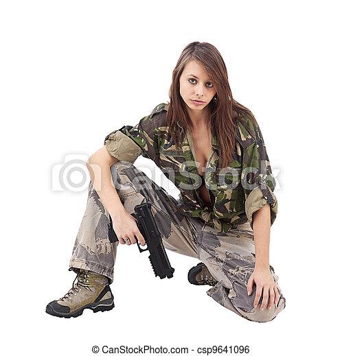 militar, mulher, camo, guerreira - csp9641096