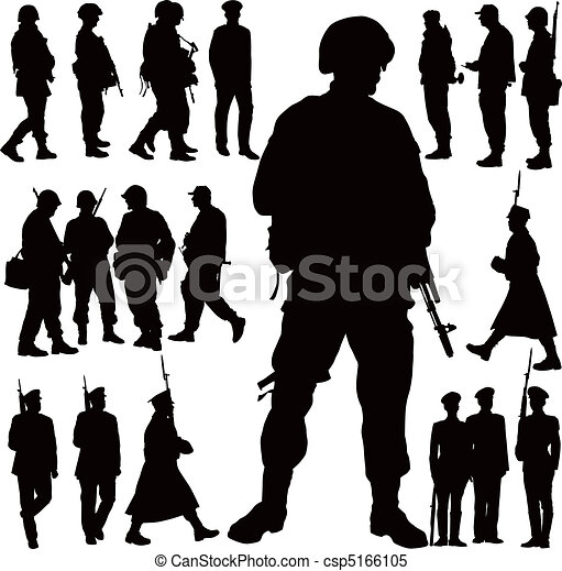 militar, silhuetas - csp5166105