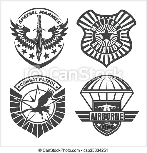Military airforce patch set - armed forces badges and labels logo - csp35834251