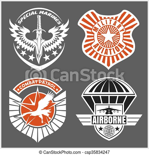 Military airforce patch set - armed forces badges and labels logo - csp35834247