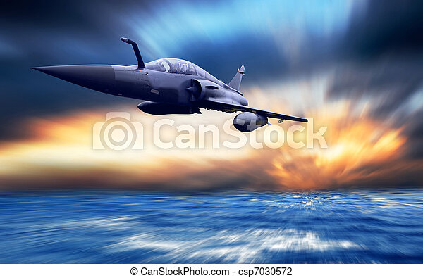 Military airplan on the speed - csp7030572
