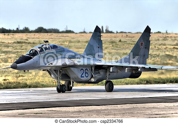 Military airplane on land - csp2334766