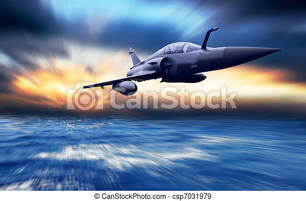 Military airplane on the speed - csp7031979