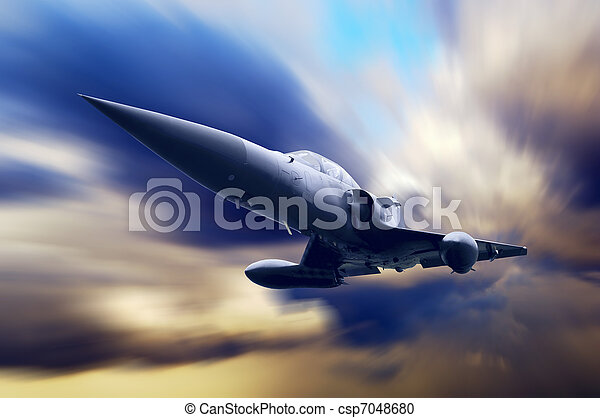 Military airplane on the speed - csp7048680