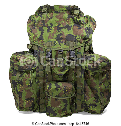 Military backpack isolated on white - csp16418746
