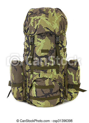 Military backpack isolated on white. - csp31396398