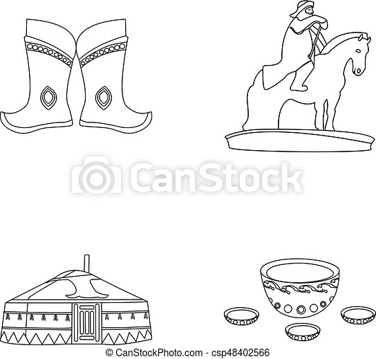 Military Boots A Monument To The Rider A National Tent A Milk Drink. Mongolia Set Collection  sc 1 st  Can Stock Photo & Military boots a monument to the rider a national tent a ...