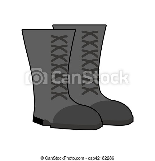 Military boots Black isolated. Army shoes on white background. soldiers footwear - csp42182286