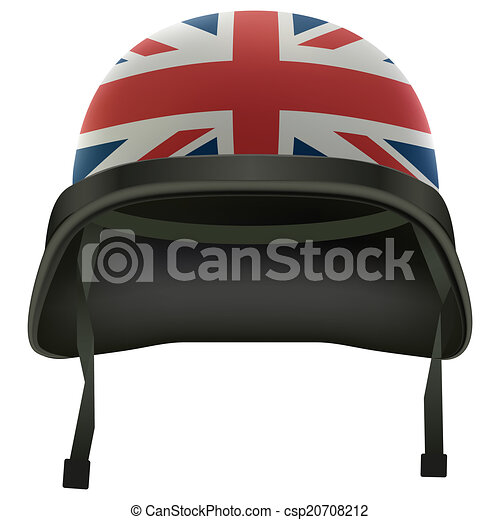 Military British Flag Helmet Isolated On White Background Bitmap