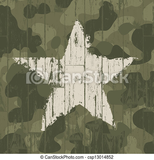 Military camouflage background with star. Vector, EPS10. - csp13014852