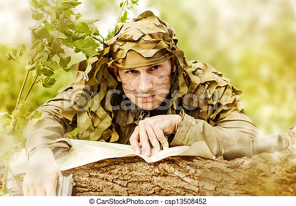 Military Camouflaged man - csp13508452