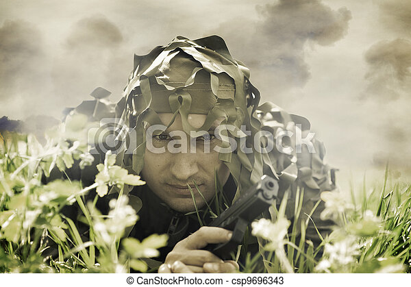 Military Camouflaged man - csp9696343