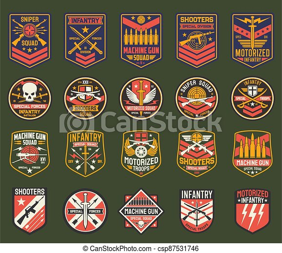Military chevrons vector icons, army stripes set - csp87531746